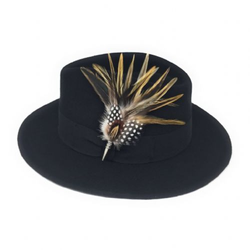 Wool Showerproof Black Fedora Hat with Country Feather Brooch - Burford